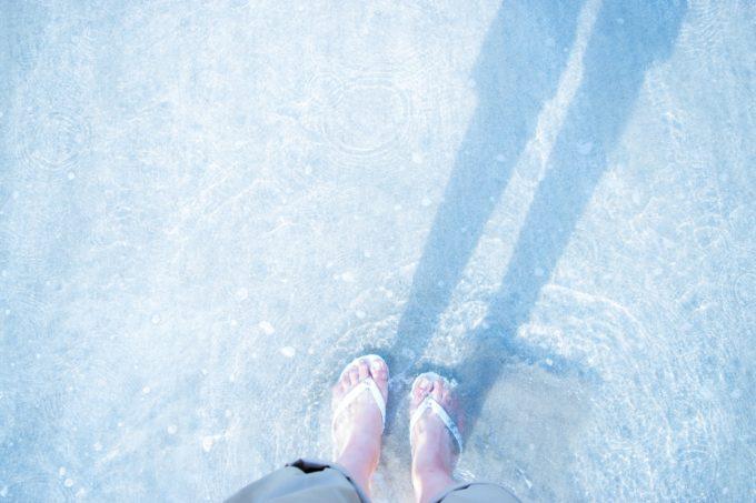 透明な水に浸したサンダル履きの足