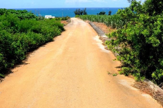 海際の道路を外れるとまだ舗装されてない道がある