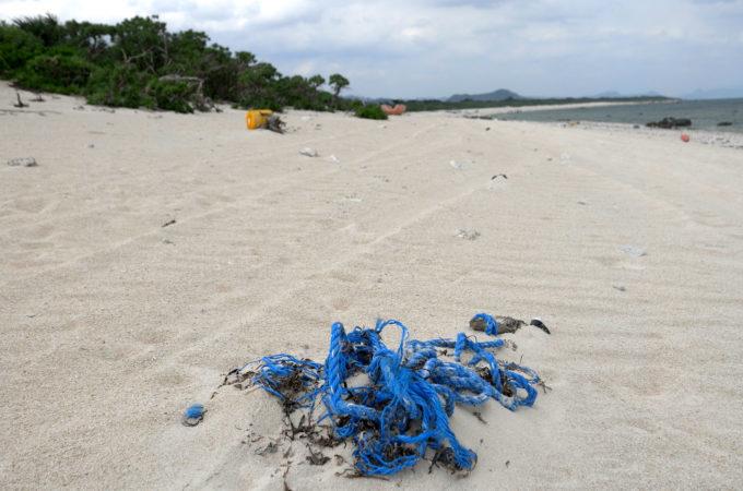 ゴミが点在する白砂のビーチ