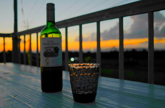 サンセットヒル備瀬のテラスから眺める夕焼け