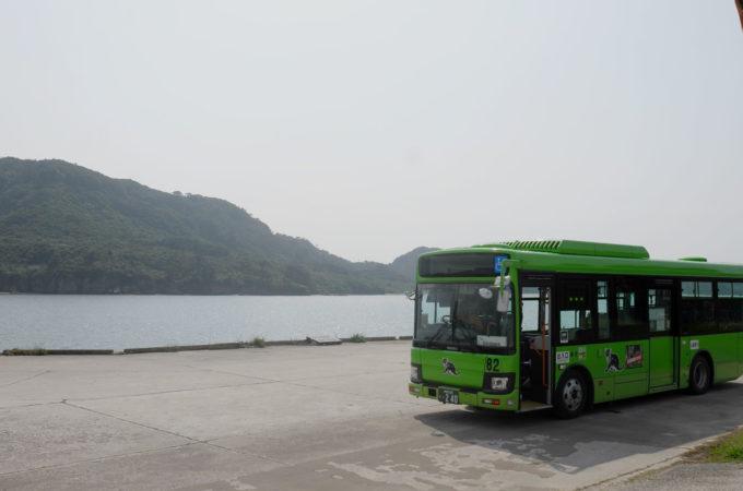 白浜に到着したバス