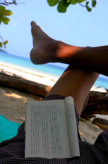 ビーチで紙の本を読んでいるボランちゅ