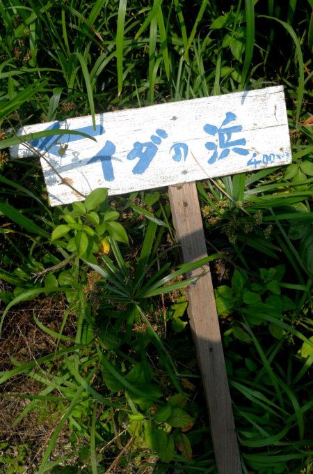 二股の道で「イダの浜」の方向を示す看板