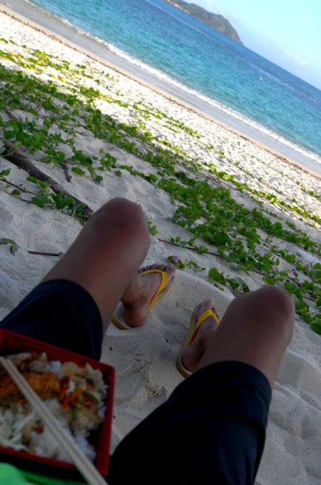 ビーチの木陰で弁当を食べる