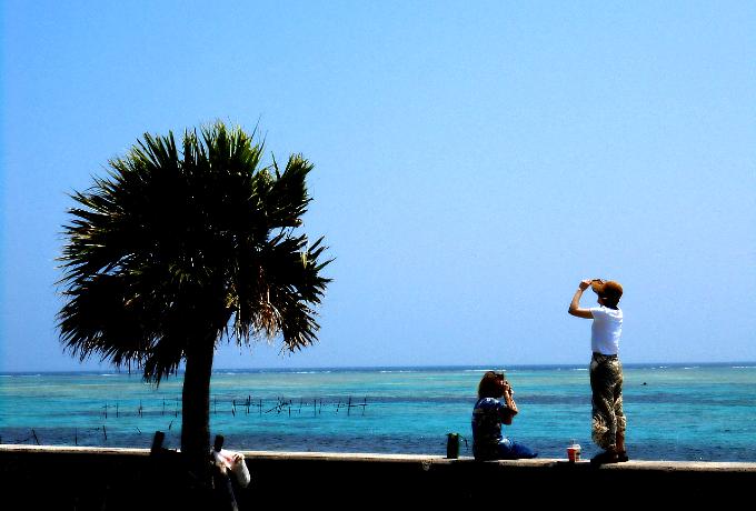 港の近くの臨海公園