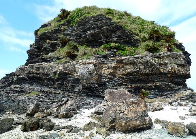 ゴジラの頭のようにも見える巨大な岩