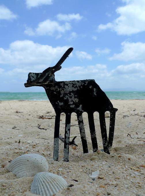 ビーチで作ったアート作品